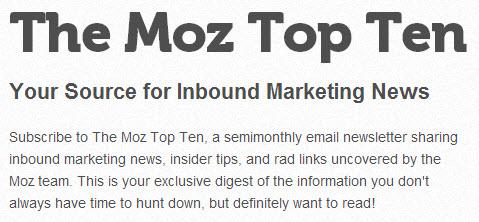 the Moz top ten list