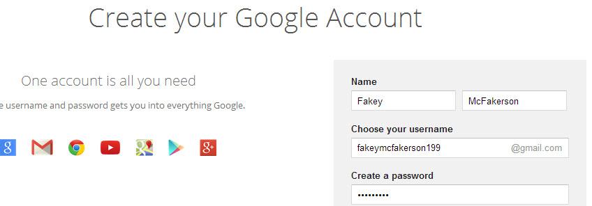 fake gmail account