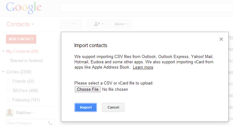 Import all of your email addresses to Gmail