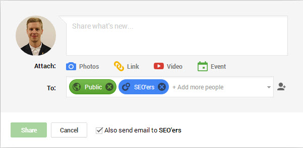 Email Users on Google+