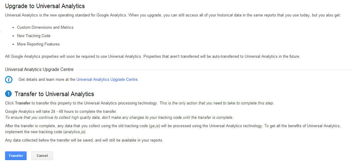 Google Analytics tracking code update