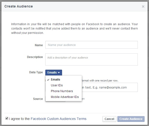 Importing your email list to Facebook ads
