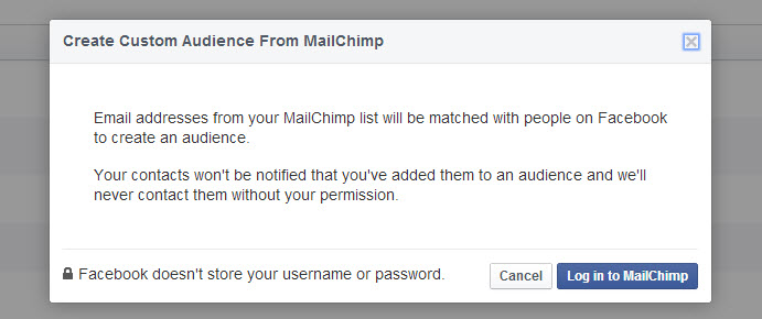 Log in to MailChimp with your account details