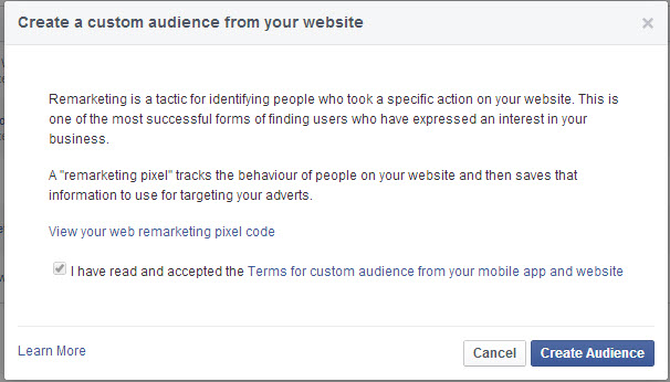 Accept Facebook's terms and conditions and then press Create Audience