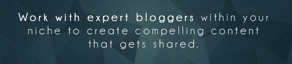 Work with expert bloggers within your niche to create compelling content that gets shared.
