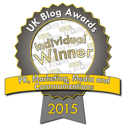 2015 UK Blog Awards PR, Marketing, Media & Communications Winner