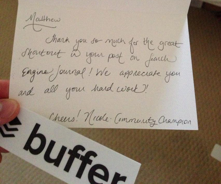 The very thoughtful letter I received from the Buffer team - thanks!