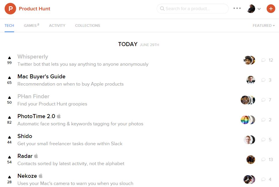 Product Hunt Front Page