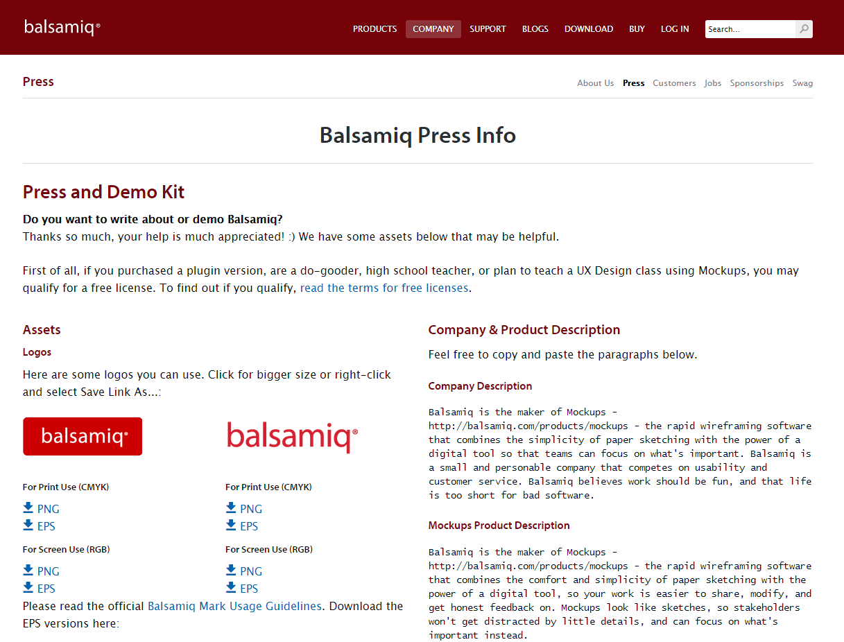 Balsamiq press kit
