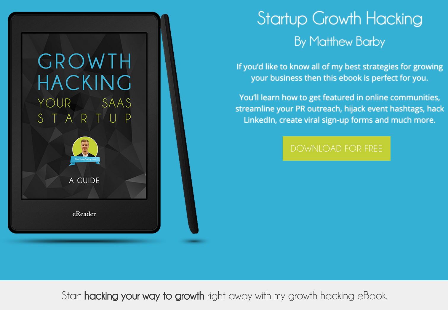 My growth hacking ebook landing page