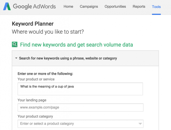 Question Search in Google Keyword Planner