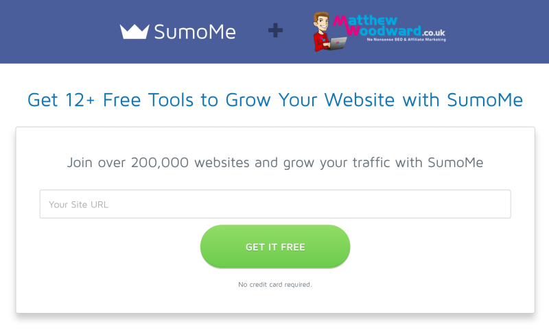 SumoMe Influencer Landing Page